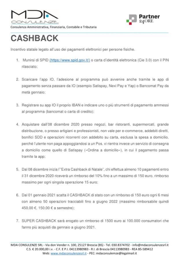 ARRIVA IL CASHBACK DI STATO