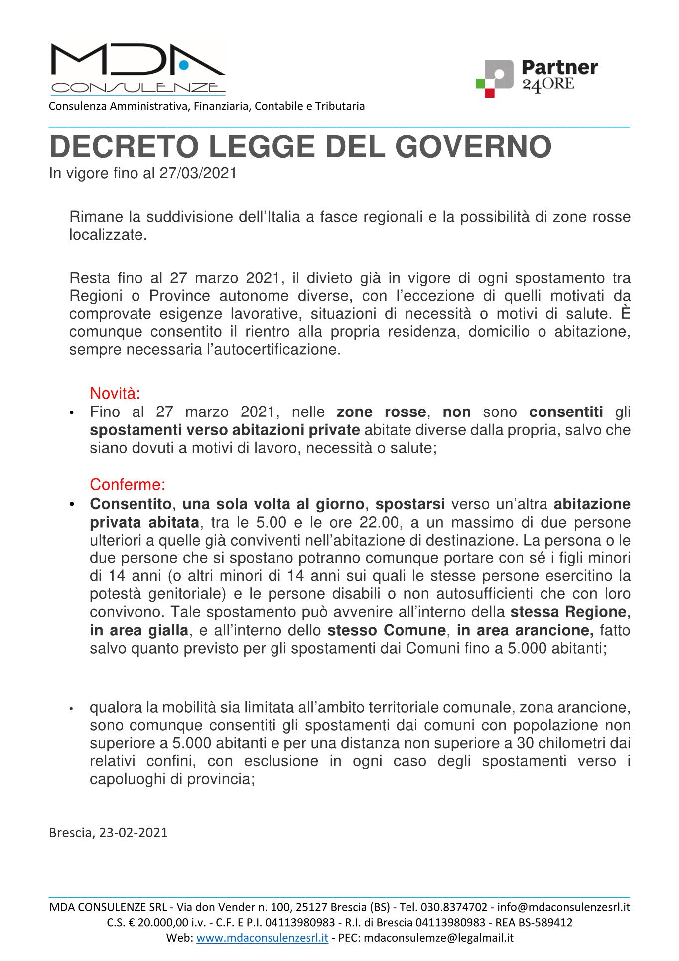 Decreto legge del governo – in vigore fino al 27-03-2021